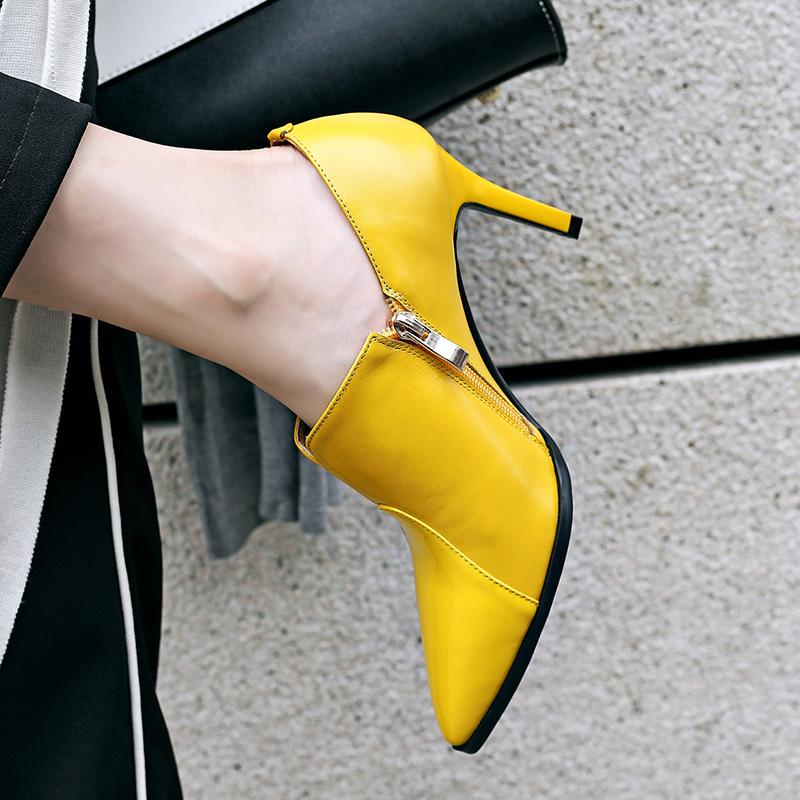 黄色单鞋 2017秋冬新款尖头细跟高跟及踝靴女拼接真皮黄色时尚深口单鞋v口_推荐淘宝好看的黄色单鞋