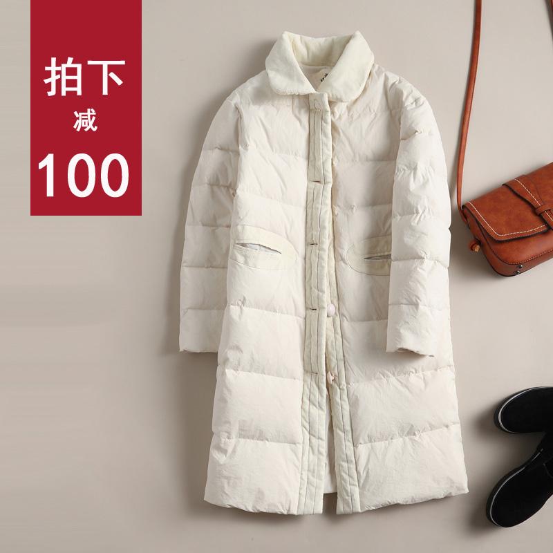 白色羽绒服 文艺复古白色羽绒服女中长款2016新款韩国宽松学生甜美娃娃领外套_推荐淘宝好看的白色羽绒服