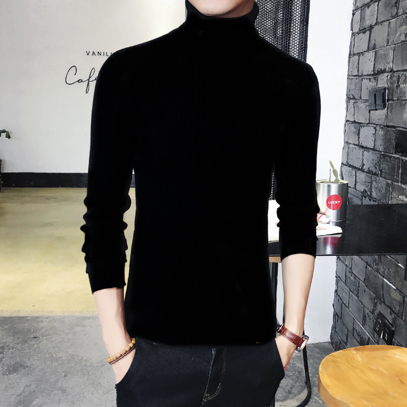 男士修身针织衫 韩版男士修身纯色高领针织衫毛衣两翻领打底衫紧身冬季上衣潮男装_推荐淘宝好看的男修身针织衫