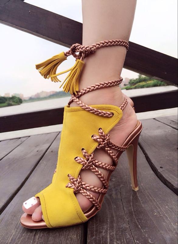 黄色凉鞋 silla rulers 真皮女鞋 凉鞋 超高跟 舞台走秀鞋 黄色平面鱼嘴_推荐淘宝好看的黄色凉鞋