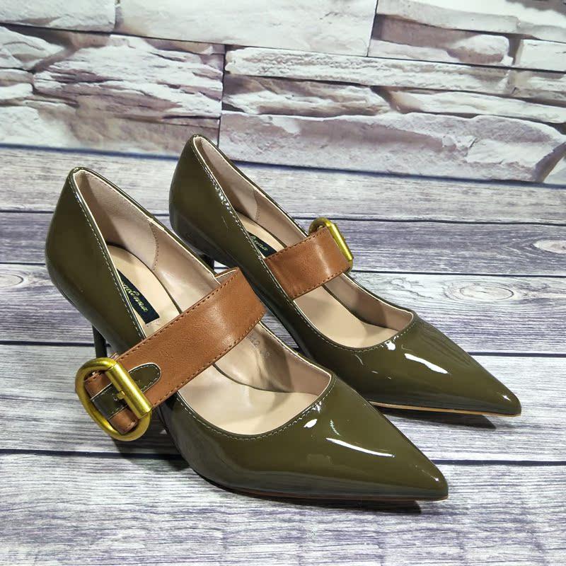 绿色高跟鞋 2017春夏新款欧美尖头浅口细跟高跟女鞋绿色套脚工作休闲女单鞋潮_推荐淘宝好看的绿色高跟鞋