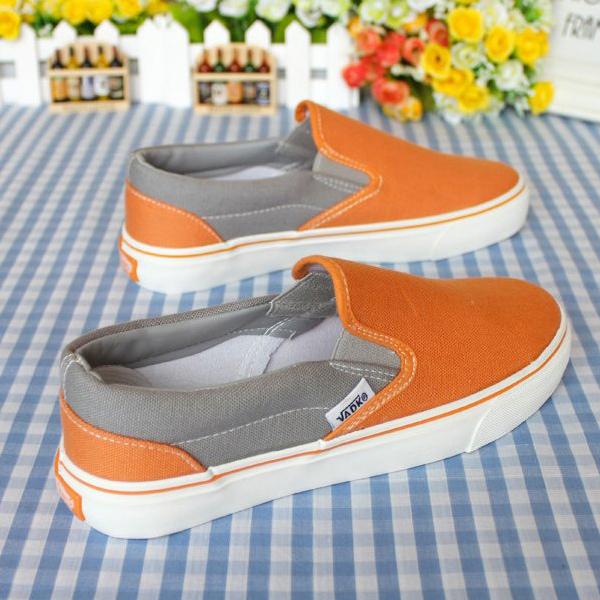 黄色帆布鞋 包邮断码女士橘红色一脚蹬赖人帆布鞋女学生韩版橘黄色套脚帆布鞋_推荐淘宝好看的黄色帆布鞋
