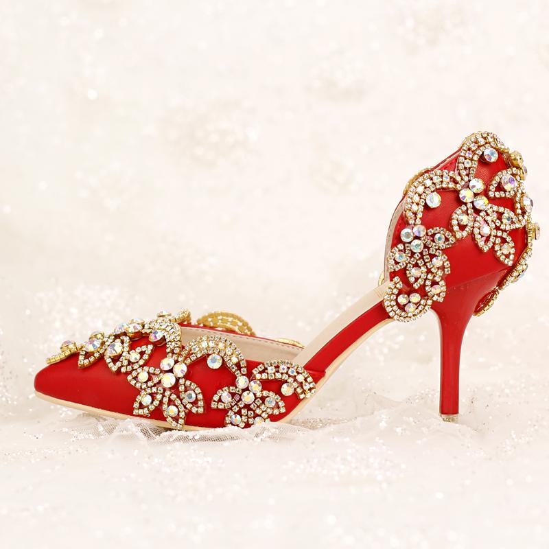 红色凉鞋 红色新娘鞋水晶钻超高跟细跟拍婚纱照鞋浅口夏季婚鞋女鞋凉鞋新品_推荐淘宝好看的红色凉鞋