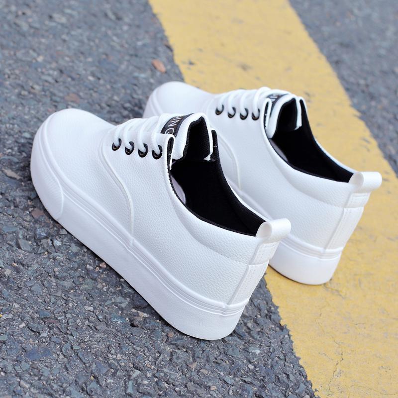 白色松糕鞋 秋季韩版小白鞋白色帆布鞋学生松糕系带休闲运动鞋内增高女鞋板鞋_推荐淘宝好看的白色松糕鞋
