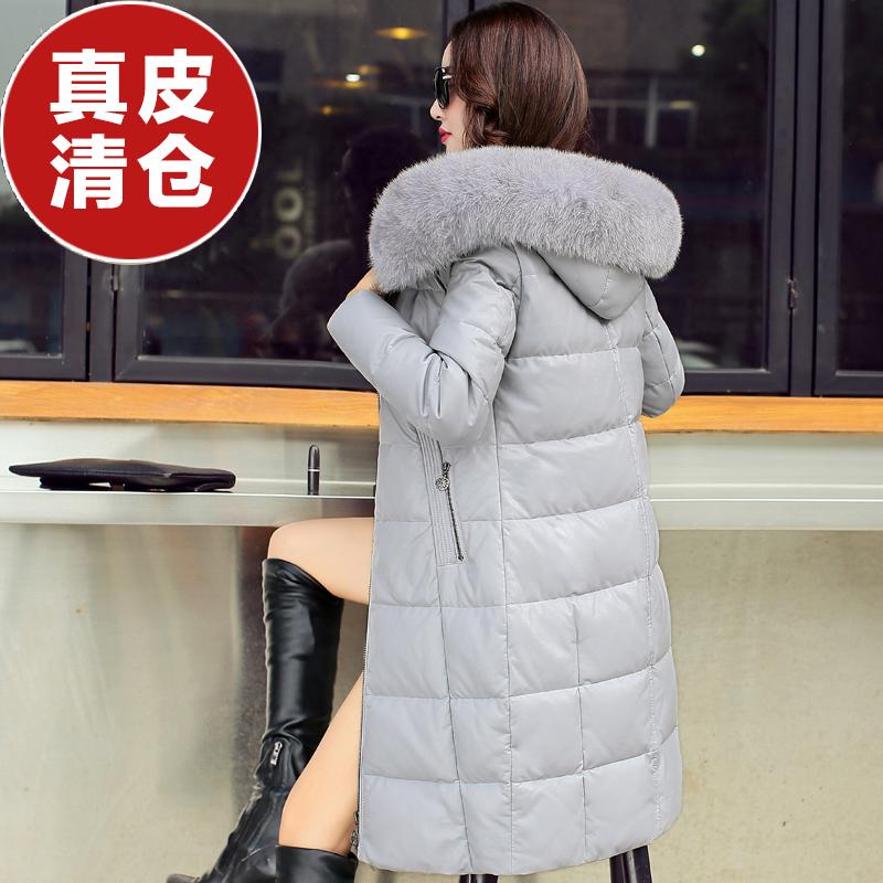 羊皮皮衣 冬季新款海宁真皮羽绒服女中长款大码修身绵羊皮狐狸毛领皮衣外套_推荐淘宝好看的羊皮皮衣女