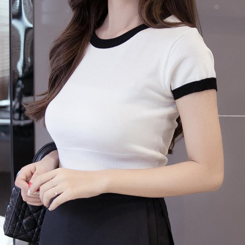 短袖针织衫 2017韩撞色圆领白色t恤修身百搭套头短款针织衫打底衫女短袖上衣_推荐淘宝好看的女短袖针织衫