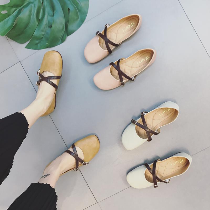 时尚平底鞋 韩版时尚软底舒适女平跟浅口单鞋学生复古百搭奶奶鞋文艺平底鞋_推荐淘宝好看的女时尚平底鞋