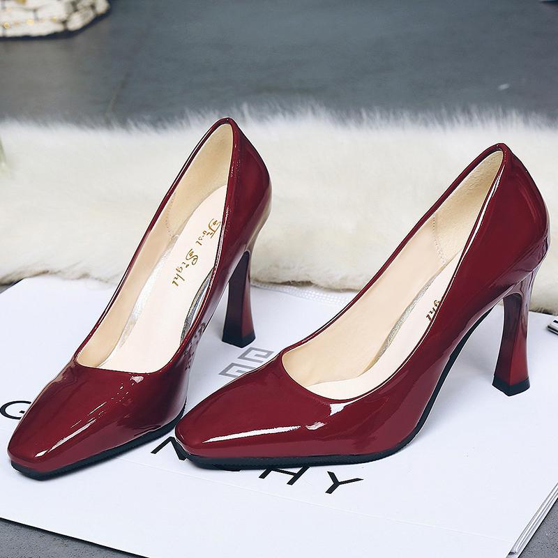 漆皮高跟单鞋 秋季潮流新款 马蹄跟方头高跟鞋 细跟浅口漆皮单鞋百搭工作女鞋_推荐淘宝好看的女漆皮高跟单鞋
