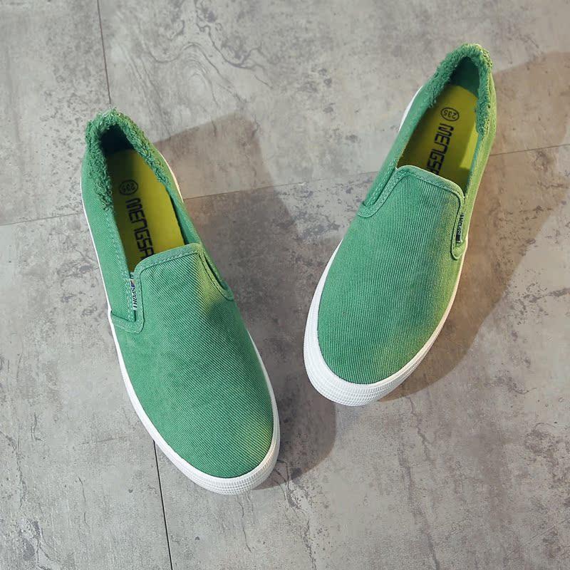 绿色帆布鞋 牛仔布一脚蹬帆布鞋女学生韩版百搭绿色透气单鞋女生简约乐福鞋潮_推荐淘宝好看的绿色帆布鞋