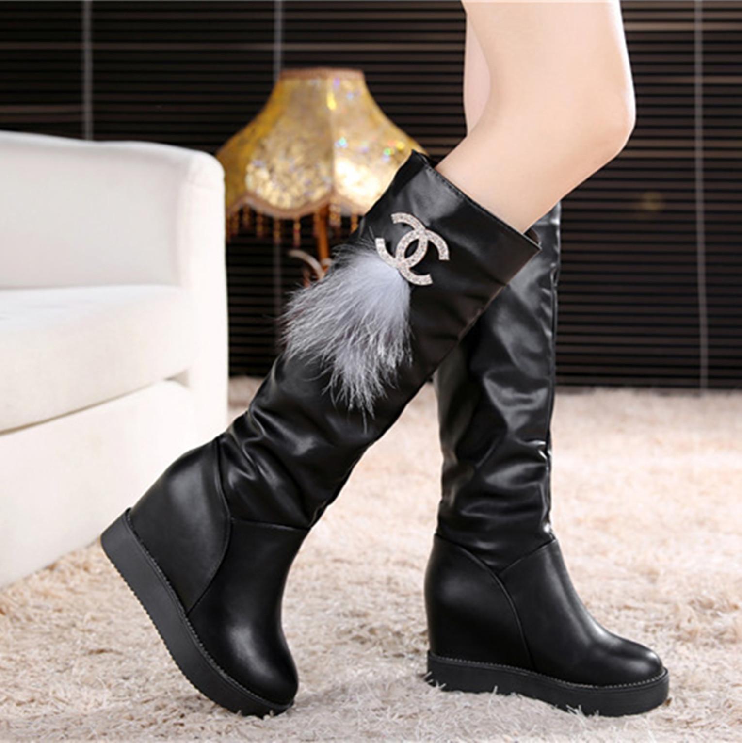 水钻坡跟鞋 秋冬季套筒皮面水钻女鞋长靴内增高筒靴坡跟厚底拉链中筒女靴子潮_推荐淘宝好看的水钻坡跟鞋