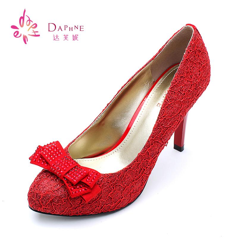 高跟单鞋 Daphne达芙妮鞋子女春季新款女鞋蝴蝶结水钻高跟单鞋1014404083_推荐淘宝好看的女高跟单鞋