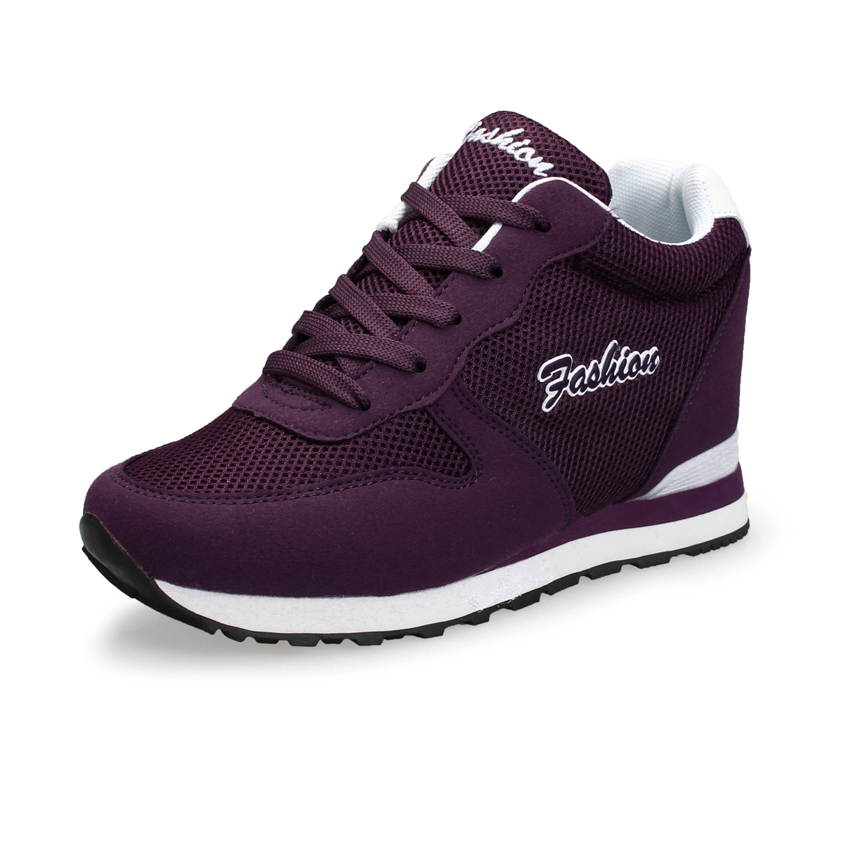 紫色运动鞋 系带隐形内增高鞋女秋夏休闲时尚网鞋好看透气运动鞋流行深紫色潮_推荐淘宝好看的紫色运动鞋