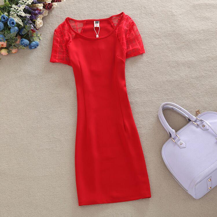 红色蕾丝连衣裙 2017夏季新款镂空短袖蕾丝连衣裙职业修身显瘦包臀一步裙子红色_推荐淘宝好看的红色蕾丝连衣裙