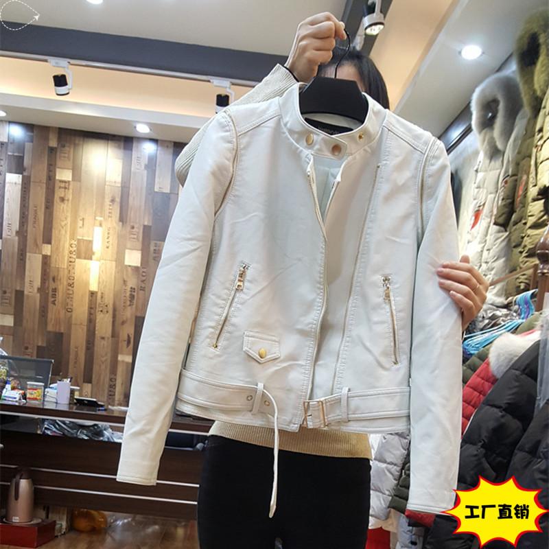 白色皮衣 2017新款刘诗诗明星同款皮衣两穿pu皮夹克立领皮衣女短款机车外套_推荐淘宝好看的白色皮衣