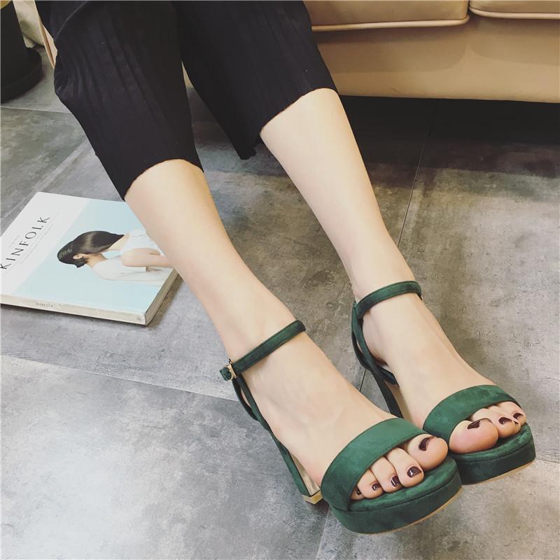 绿色凉鞋 高跟凉鞋防水台露趾女鞋2017夏季新款性感一字扣带粗跟绿色流行色_推荐淘宝好看的绿色凉鞋