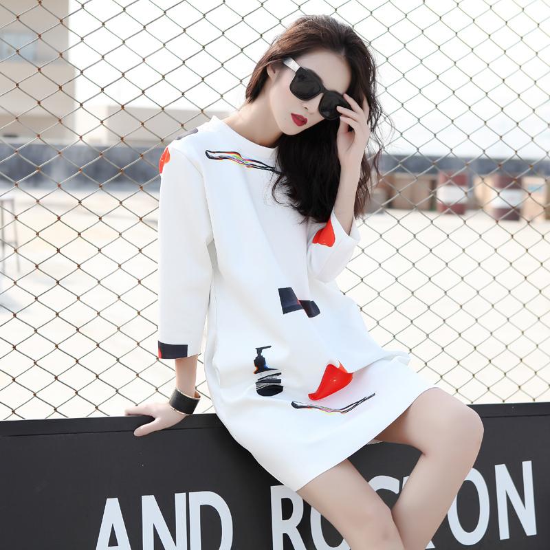 白色连衣裙 2016秋冬新款女装几何印花中长款宽松九分袖t恤白色连衣裙_推荐淘宝好看的白色连衣裙