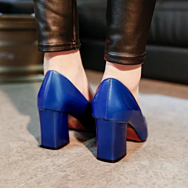 粗高跟单鞋 粗跟7CM无装饰OL职业场工作鞋尖头高跟鞋漆皮宝蓝色浅口鞋女单鞋_推荐淘宝好看的女粗高跟单鞋