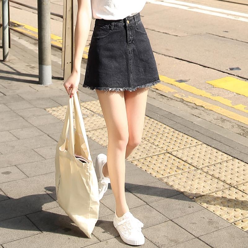 黑色半身裙 2017夏季新款韩版高腰黑色防走光牛仔裙女Aa字裙裤裙半身裙短裙子_推荐淘宝好看的黑色半身裙