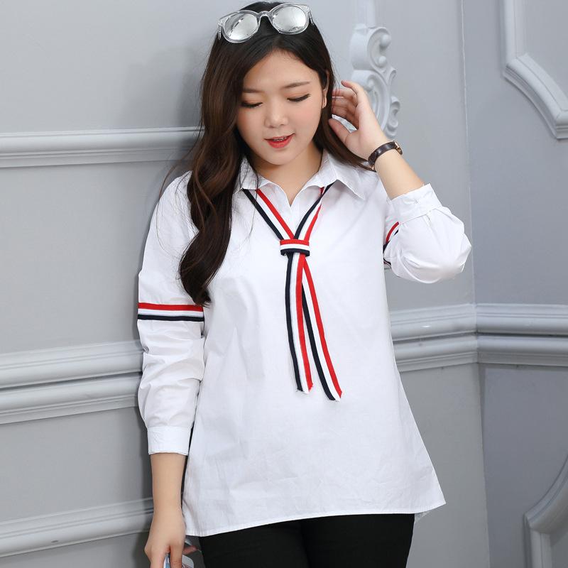 白衬衫 2016秋季新款学生白色衬衫品牌大码女装加大加肥200斤胖mm可穿_推荐淘宝好看的女白衬衫