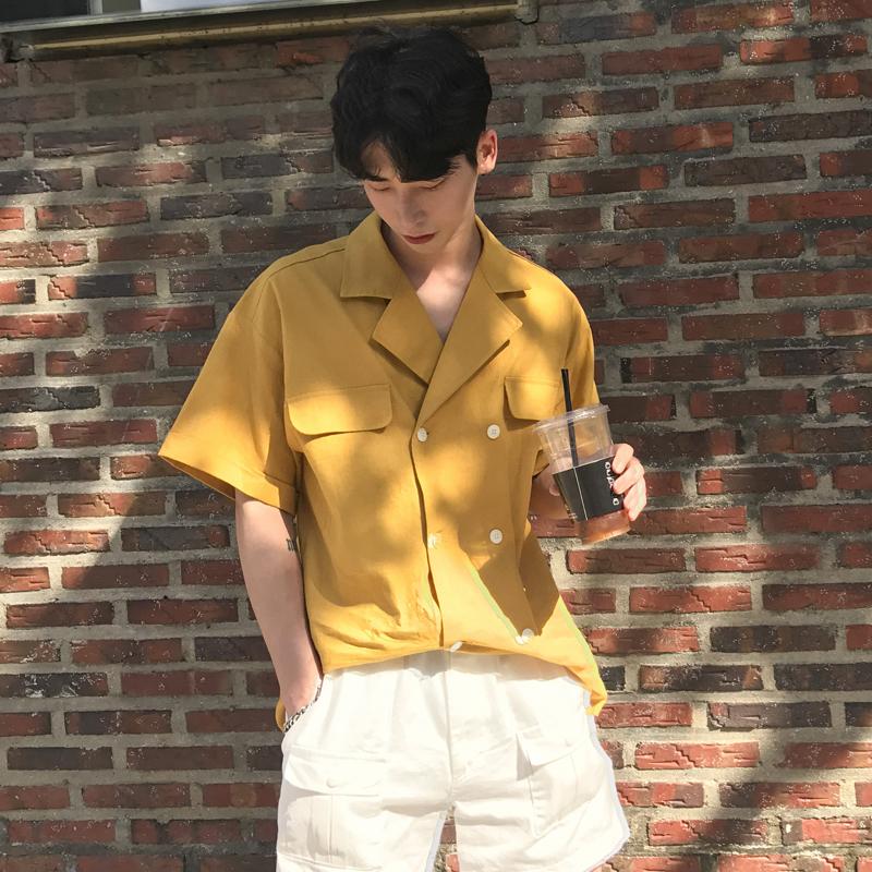 黄色衬衫 安初七韩国潮版西装领夏日短袖衬衣男简约双排扣个性复古衬衫外套_推荐淘宝好看的黄色衬衫