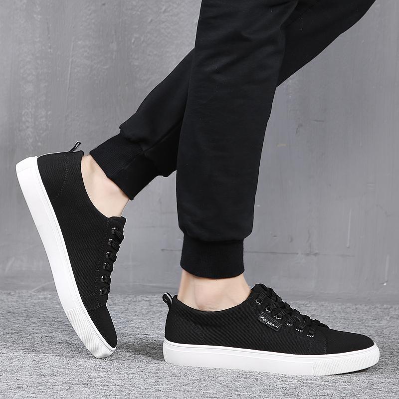黑色帆布鞋 秋季黑色帆布鞋男 低帮男士休闲鞋 韩版运动鞋子保暧男鞋潮流板鞋_推荐淘宝好看的黑色帆布鞋