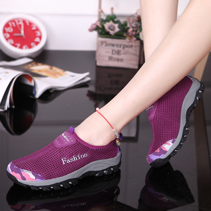 紫色运动鞋 韩版透气网面鞋女式运动休闲鞋情侣款网眼鞋一脚蹬套脚女单鞋紫色_推荐淘宝好看的紫色运动鞋