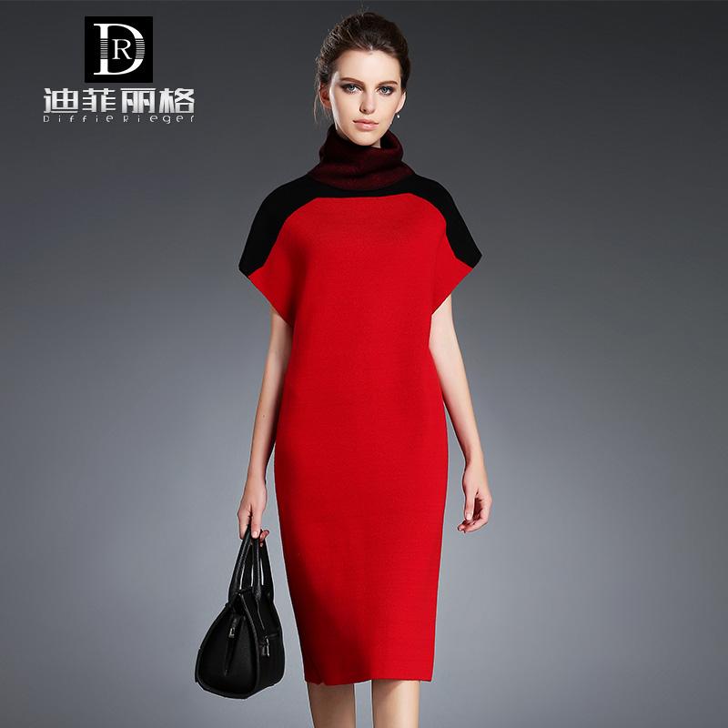 红色连衣裙 2016新款女装通勤高领修身红色秋装打底针织连衣裙中长款毛衣裙秋_推荐淘宝好看的红色连衣裙