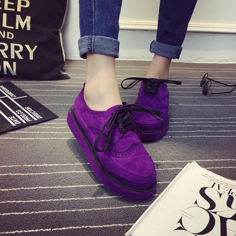 紫色厚底鞋 韩版新款女单鞋松糕底厚底防滑系鞋带紫色红色黑色学生鞋休闲鞋子_推荐淘宝好看的紫色厚底鞋