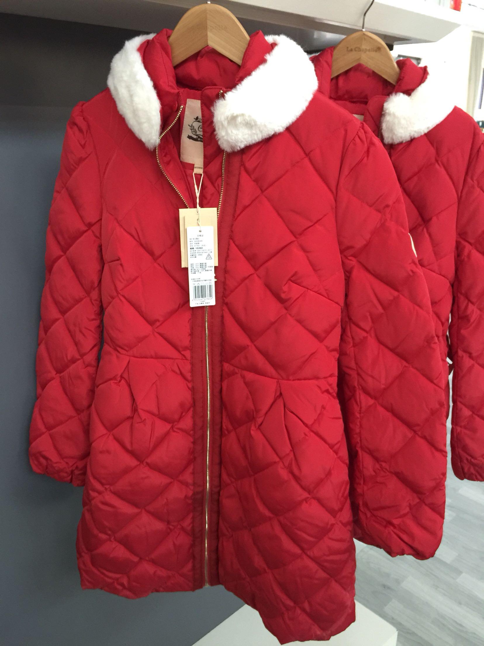 拉夏贝尔羽绒服 3折拉夏贝尔Candie's新年红色格纹收腰中长款羽绒服女30006589_推荐淘宝好看的女拉夏贝尔羽绒服