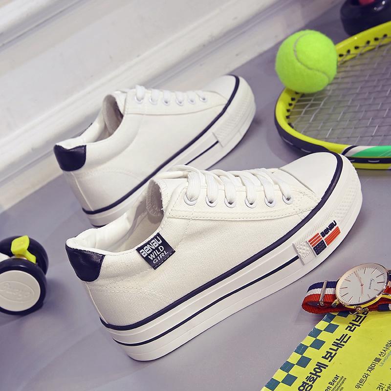 白色松糕鞋 秋冬季韩版厚底白色帆布鞋女松糕跟内增高女鞋学生板鞋小白鞋子潮_推荐淘宝好看的白色松糕鞋