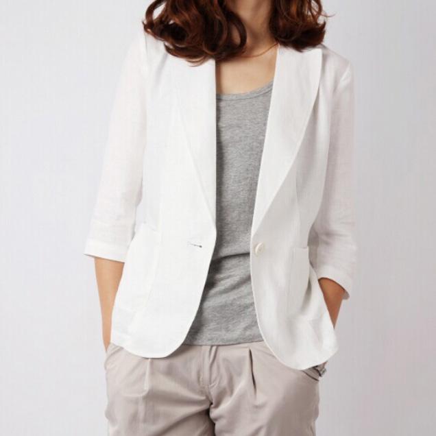 女士小西装 韩版夏季亚麻小西装七分袖修身一粒扣棉麻西服薄款外套女装加大码_推荐淘宝好看的女小西装