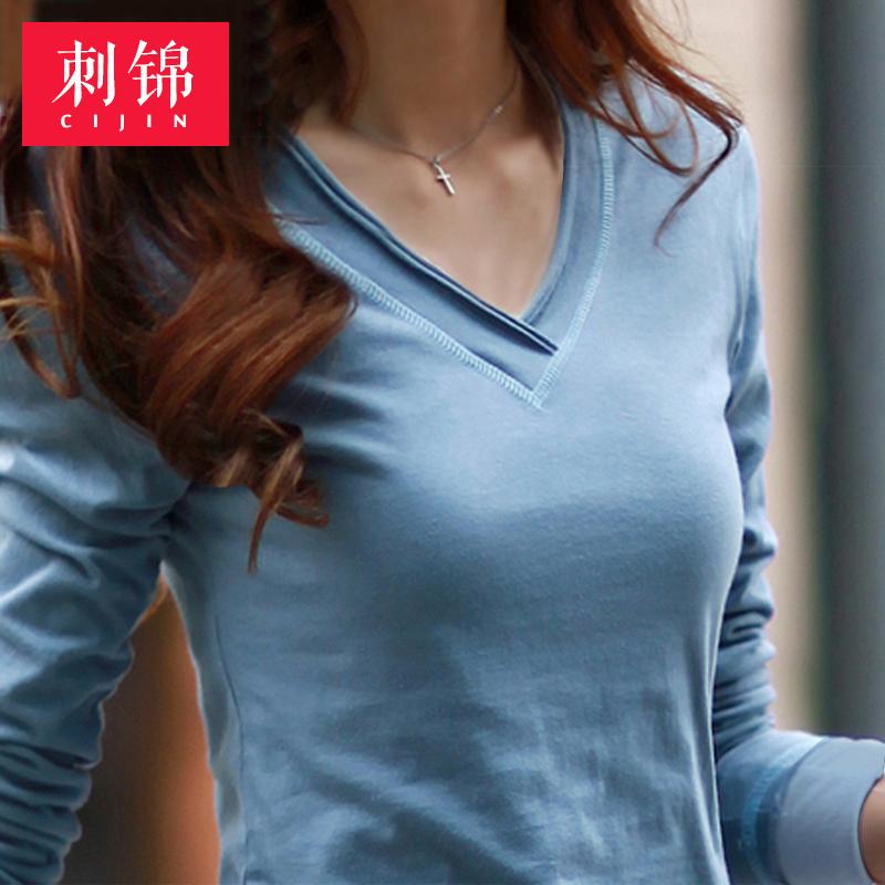 纯色长袖t恤 2017春装韩版修身百搭纯色V领纯棉长袖T恤大码女士打底衫上衣女装_推荐淘宝好看的女纯色长袖t恤