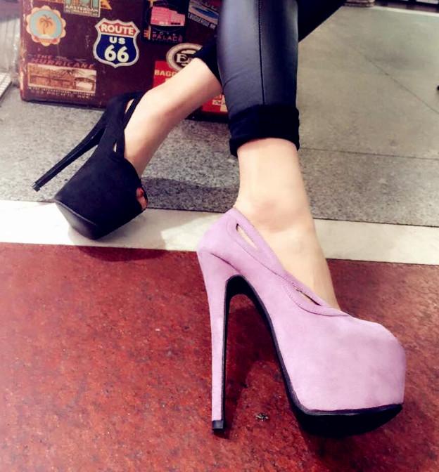 紫色鱼嘴鞋 韩国代购时尚气质显瘦淑女细跟鱼嘴香芋紫色浅口单鞋15公分复古风_推荐淘宝好看的紫色鱼嘴鞋
