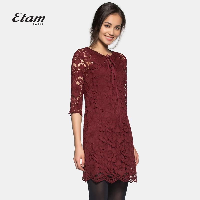 艾格连衣裙 艾格ETAM W蕾丝拼接连衣裙两件套装15012228409_推荐淘宝好看的艾格连衣裙