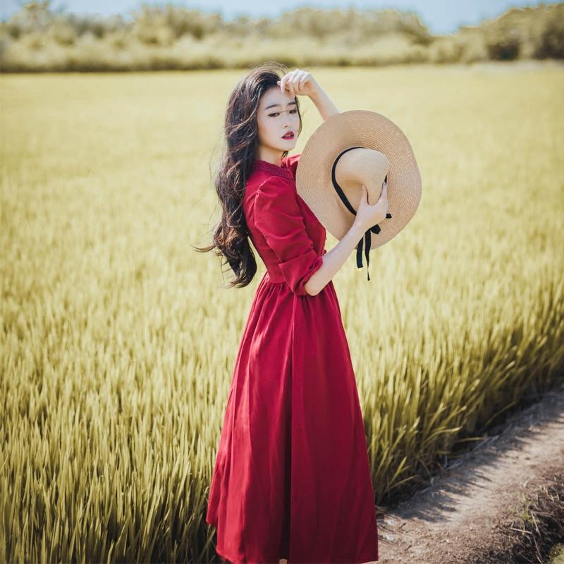 红色蕾丝连衣裙 Alice复古文艺超大摆蕾丝气质高腰长裙红裙修身显瘦九分袖连衣裙_推荐淘宝好看的红色蕾丝连衣裙
