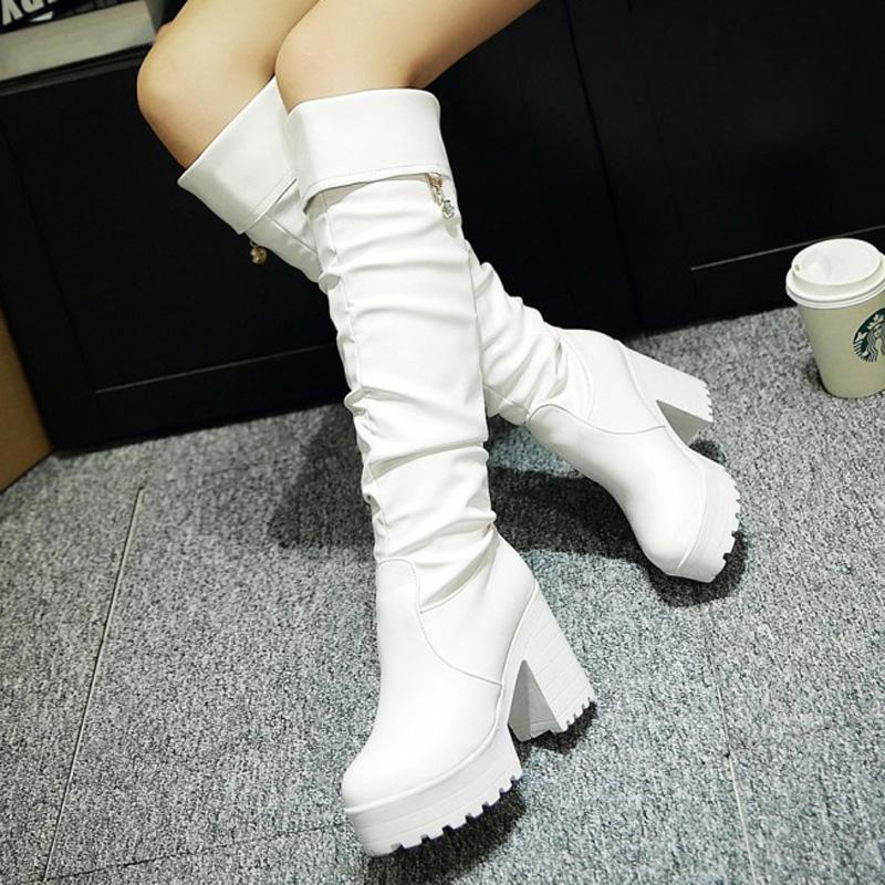 罗马高跟鞋 韩版学院风休闲罗马过膝长筒靴秋冬季女鞋靴子加绒高跟高筒靴子_推荐淘宝好看的女罗马高跟鞋