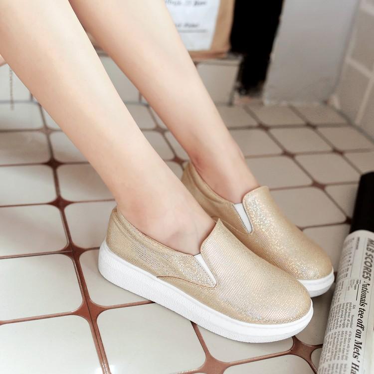 粉红色松糕鞋 2016秋季新款女士低跟圆头漆皮松糕时尚低帮鞋金色粉红色白色_推荐淘宝好看的粉红色松糕鞋