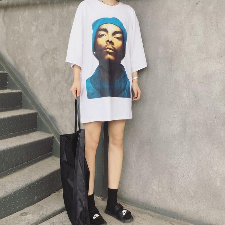 个性t恤 2016秋季BF风中长款T恤女个性时尚男人头像宽松五分袖上衣女半袖_推荐淘宝好看的女个性t恤