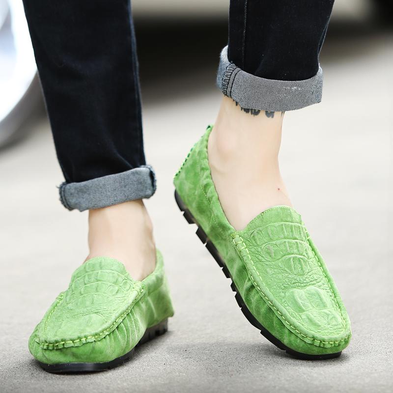 绿色豆豆鞋 春夏季绿色真皮豆豆鞋百搭时尚休闲鞋男鞋英伦韩版潮鞋套脚蛋卷鞋_推荐淘宝好看的绿色豆豆鞋