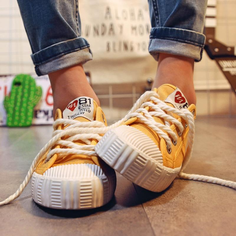 黄色帆布鞋 黄色帆布鞋夏季女2017新款韩版百搭韩范儿港风浅口夏天透气布鞋子_推荐淘宝好看的黄色帆布鞋