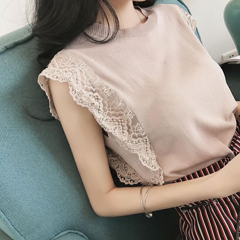 紫色针织衫 2017夏装新款韩版蕾丝拼接冰丝针织衫女套头修身纯色无袖T恤上衣_推荐淘宝好看的紫色针织衫