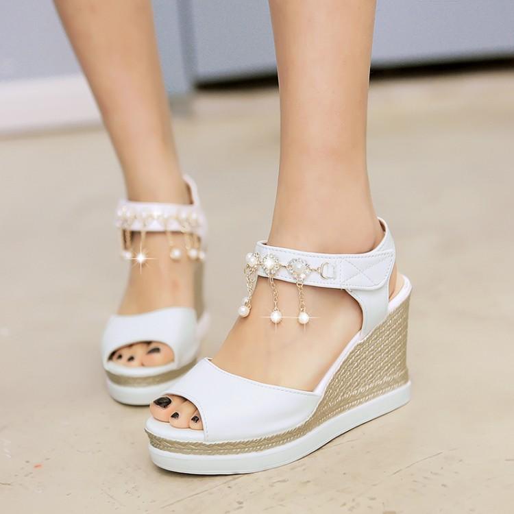粉红色凉鞋 女鞋银色粉红色白色女鞋坡跟高跟小码大码凉鞋 40 41 42 43  HZH_推荐淘宝好看的粉红色凉鞋