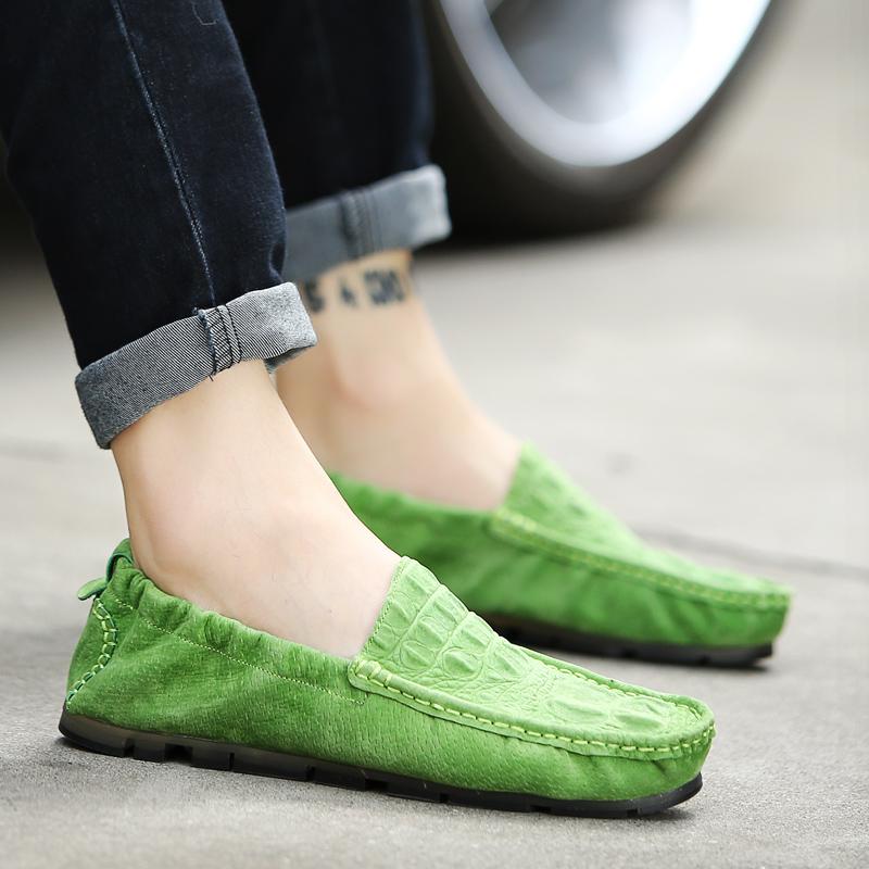 绿色豆豆鞋 2017新款夏季绿色豆豆鞋男真皮英伦鳄鱼纹休闲男鞋懒人蛋卷潮鞋子_推荐淘宝好看的绿色豆豆鞋