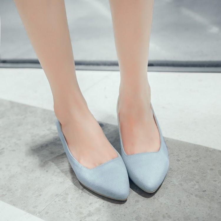 粉红色坡跟鞋 女鞋春秋尖头蓝色粉红色婚鞋中跟坡跟单鞋小码大码鞋 33 43 MSLX_推荐淘宝好看的粉红色坡跟鞋