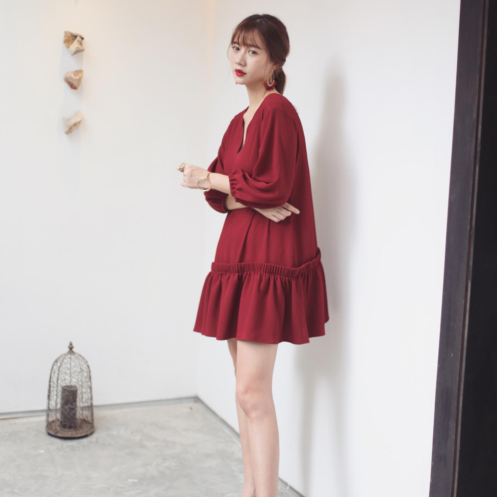 八分袖连衣裙 SCOUT原创设计  酒红色波西米亚娃娃裙八分袖褶皱时尚V领连衣裙春_推荐淘宝好看的八分袖连衣裙