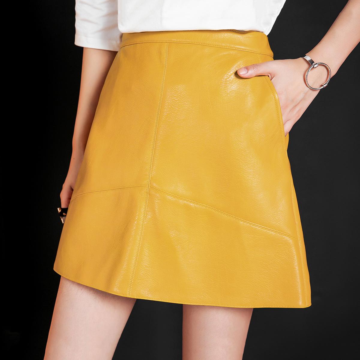 黄色半身裙 预ANN 2016秋新款 高腰显瘦PU纯色短裙宽松小皮裙A字半身裙CX144_推荐淘宝好看的黄色半身裙