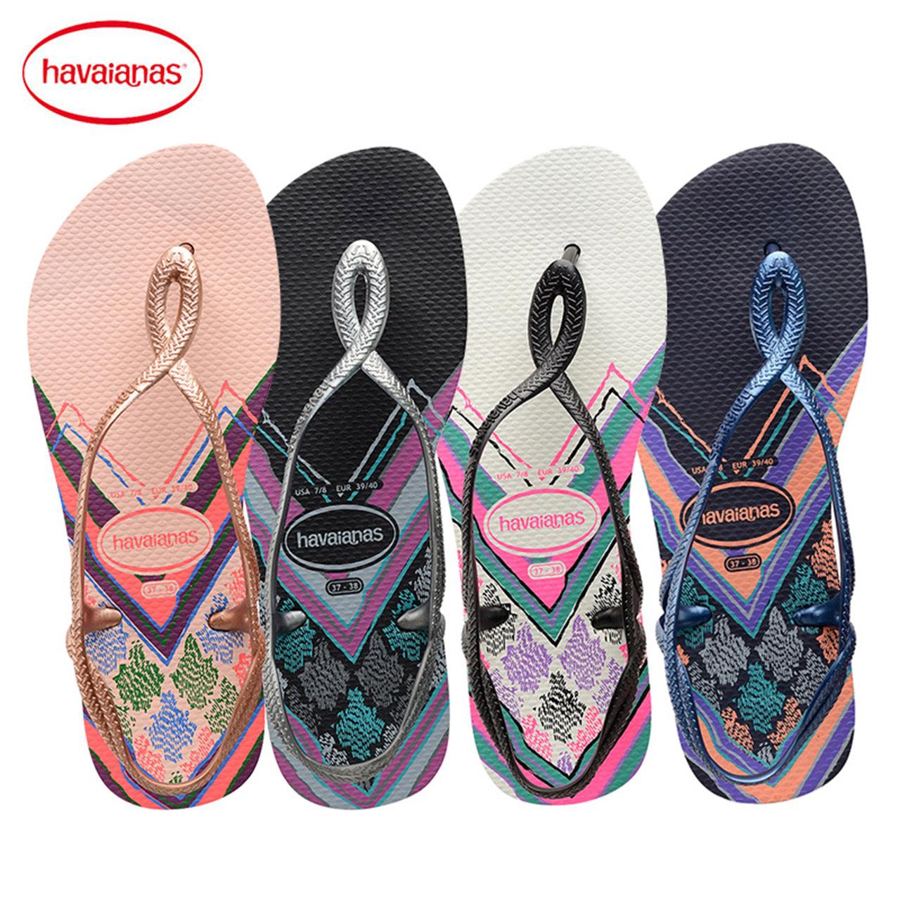 粉红色凉鞋 Havaianas巴西2018新品人字拖女款LUNA PRINT凉鞋粉红色拖鞋哈瓦_推荐淘宝好看的粉红色凉鞋
