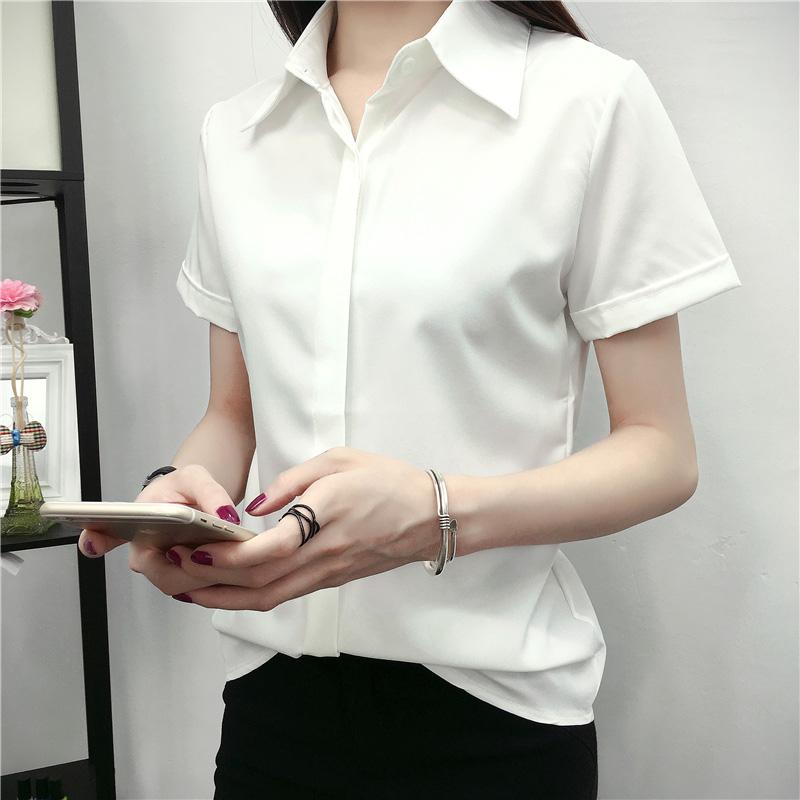 女士白色短袖衬衫 短袖白色衬衫女2017夏装新款韩版百搭宽松学生显瘦半袖衬衣女装_推荐淘宝好看的女白色短袖衬衫