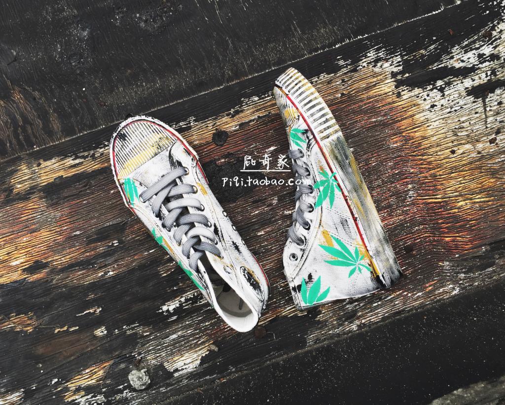 绿色高帮鞋 做旧经典绿色麻叶手绘帆布鞋高帮板鞋休闲鞋情侣男女款街拍杂志款_推荐淘宝好看的绿色高帮鞋