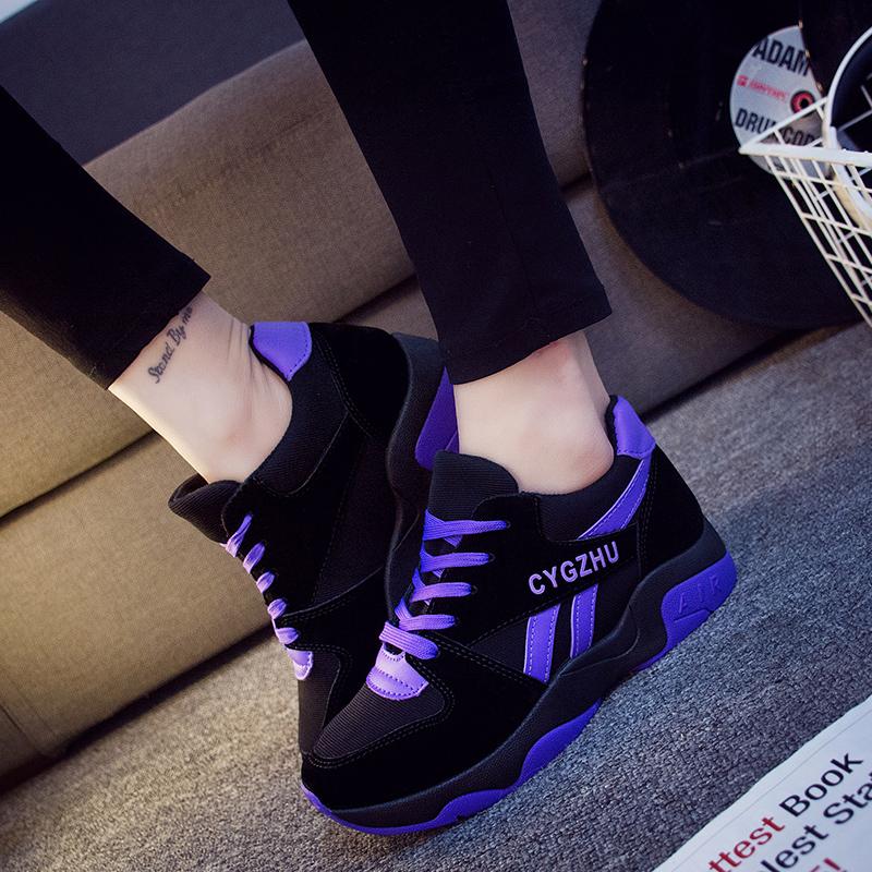 紫色运动鞋 秋冬季时尚女鞋紫色系带厚底运动鞋女学生休闲鞋初中高中板鞋冬天_推荐淘宝好看的紫色运动鞋